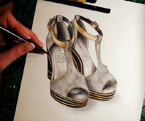 fashion, shoes, and sketch image