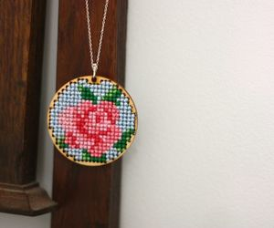 cross stitch, diy, and flower image