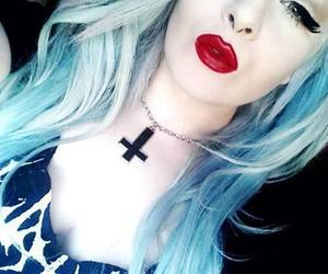 goth, hair, and red lips image