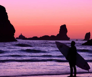 beach, board, and sunset image