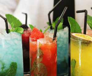 Cocktails, drinks, and multicoloured image
