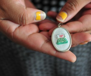 cross stitch, necklace, and pendant image
