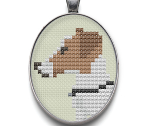 cross stitch, dog, and necklace image
