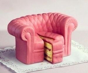 cake, pink, and sofa image