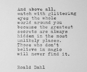 quote, Roald Dahl, and black and white image