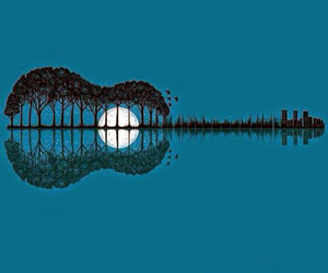 guitar, moon, and tree image