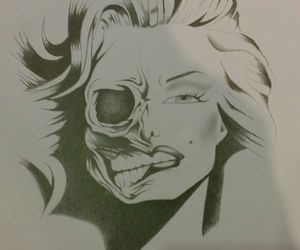 art, drawing, and marilyn image