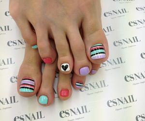 nails, nail art, and toes image