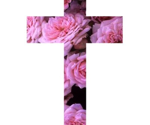 flowers, cross, and pink image