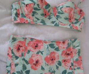 bikini, flowers, and summer image