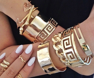 gold, nails, and bracelet image