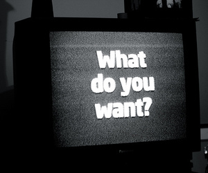 tv, black and white, and text image