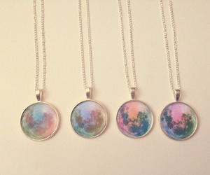 moon, necklace, and pastel image
