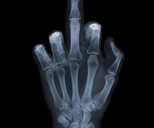 bones, middle finger, and grunge image