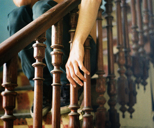 hand, stairs, and wooden image