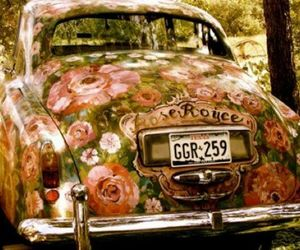 500, car, and flowers image