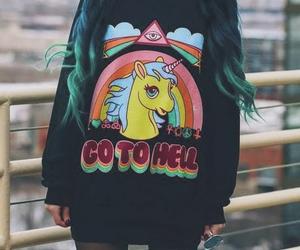 unicorn, grunge, and hell image