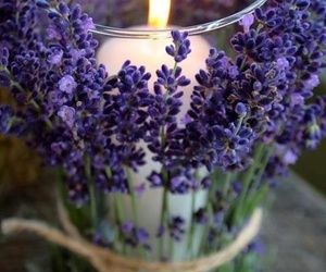 candle, flowers, and lavender image
