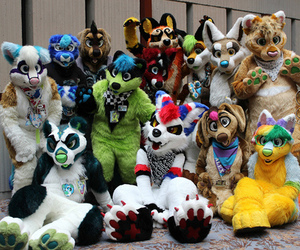 furry, group, and fursuit image