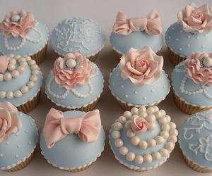 blue, cupcakes, and bows image