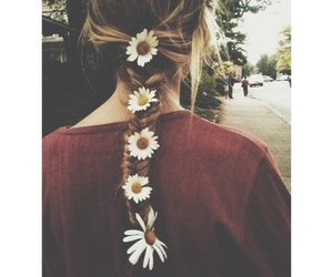 flowers, girl, and braid image