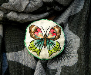 handmade jewelry, embroidered brooch, and butterfly brooch image