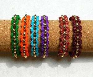 bracelet, colorful jewelry, and crochet jewelry image