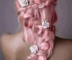 braid, hair, and floral image