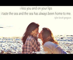 kiss, ocean, and quote image