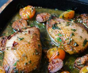 duck, tomato, and garlic image