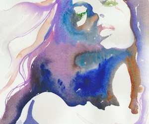 art, watercolor, and woman image