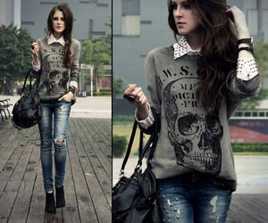 girl, clothes, and skull image