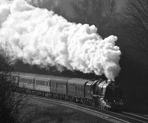 train, vintage, and black and white image
