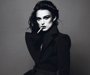 keira knightley, black and white, and smoke image