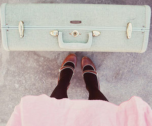 shoes, suitcase, and vintage image