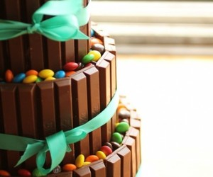 cake, chocolate, and m&m's image