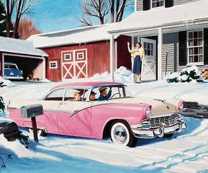 car, winter, and 50s image