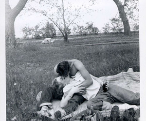 black and white, kiss, and picnic image