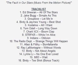 track list and the fault in our stars image