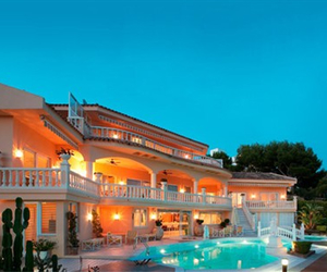 pool, summer, and luxury house image