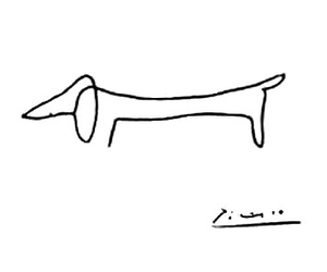 daschund, drawing, and picasso image