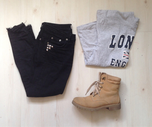 black, grey, and jeans image