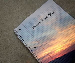 Paper, sunset, and you're beautiful image
