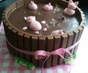 cake, chocolate, and pig image