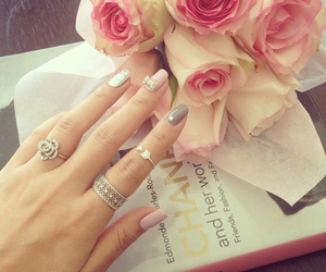 chanel, silver, and flowers image