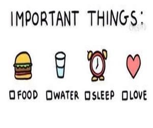 food, sleep, and water image