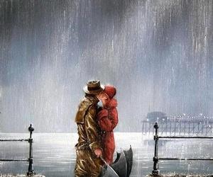 couple, rain, and art image