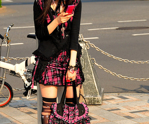 black, cell phone, and pink image