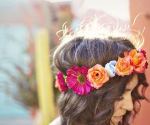 flowers, hair, and crown image