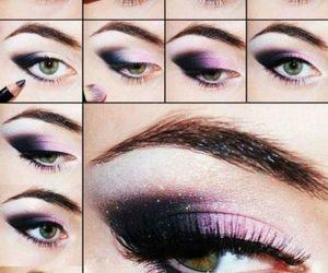 black, pink, and eye make up image